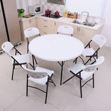 outdoor white furniture. Image Is Loading 4FT-Folding-Round-Table-Plastic-Metal-Garden-Patio- Outdoor White Furniture