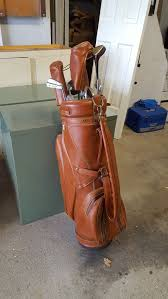 vintage hot z leather golf bag and wilson golf club set