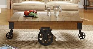 caster furniture legs homelegance factory cocktail table solid top with wheels rustic brown rustic coffee table with wheels