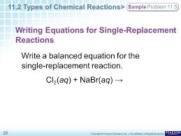 writing equations for single replacement reactions