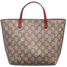 gucci bags for girls. gucci - girls beige \u0027gg\u0027 strawberry tote bag (21cm) | childrensalon bags for s