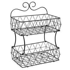 2-Tier Removable Metal Fruit Basket Stand Wire Bread Fruit Storage Rack -  Black