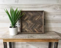 large wood serving tray wood ottoman tray herringbone tray rustic serving tray coffee table tray modern farmhouse decor gift for her
