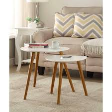 end tables nesting end tables white piano finish table top solid wood legs beige