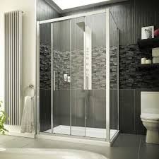 1400 x 900 sliding door shower enclosure 8mm easy clean glass tray