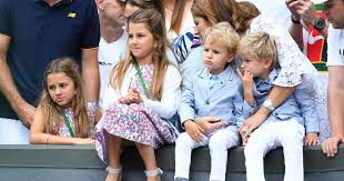 Mirka Federer, Roger Federer's wife, with their four children at  Wimbledon's final in 2017 - Tennis Majors