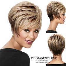 Short Pixie Wigs Blonde Synthtetic Peruk Playful Straight Shape With Wispy Face Framing Swept Bangs Bob Hair Wigs For Women