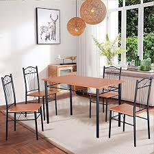 tangkula steel frame dining set table and chairs kitchen modern furniture bistro wood dining room