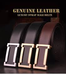 100 cowhide genuine leather belts for men 30 styles brand strap male slide buckle business formal thick