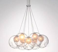 led modern double cover glass ball pendant light soap bubble suspesion lamp 19 heads for living room chandelier 19 head loft pendant lamp boccci chandeliers