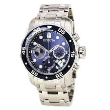 invicta pro diver watches on discount watch store invicta 0070 men s pro diver blue dial chronograph stainless steel dive watch