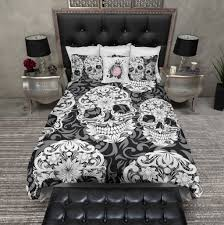 pristine grey sugar skull in scroll bedding ink in scroll bedding black in rags in black