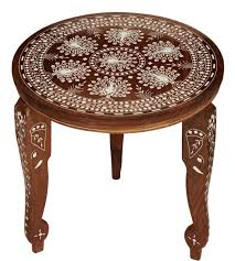 whole 12 3 leg stand round wooden accent table with removable table legs peacock motifs