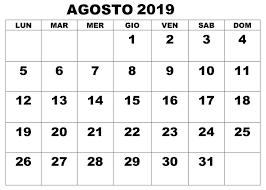 Calendario Mensile Agosto 2019 Da Stampare