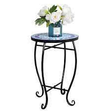 com harden patio side table accent tables plant stand porch balcony garden mosaic tablejust decor outdoor small coffee table garden outdoor