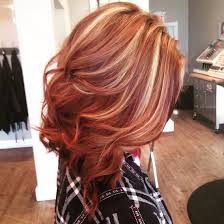 Beautiful Copper Lob With Blonde Highlights