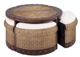 Table With Hidden Chairs Round Table With Hidden Stools Classic Rattan Accent Furniture 6959