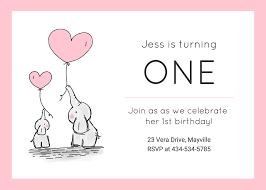 Girls 1st Birthday Invitation Template Venngage
