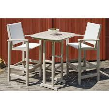 3 piece patio bar set. Brilliant Set POLYWOOD Coastal Sand 3Piece Outdoor Patio Bar Set With White Slings On 3 Piece R