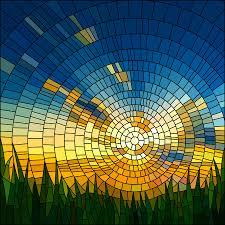 window stained glass effect modern sun sky grass
