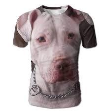 Dimannu Mens 3d Full Print T Shirts Pit Bull Dog Casual