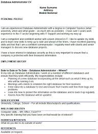 database administrator cv example   icover org uk