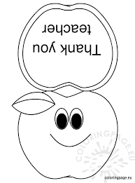 Thank You Card For Teacher Coloring Page