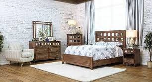 mirror finish furniture. Furniture Of America CM7586-5pc 5 Pc Frontera Collection Rustic Oak And Mirror Finish Wood Queen Bedroom Set E
