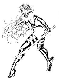 Sexy Adult Coloring Pages Psylocke By