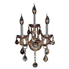 worldwide lighting provence 3 light chrome and amber crystal sconce