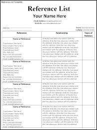 List Of Reference Example Resume Reference List Template Professional Reference Sheet Sample