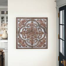 Buy decmode indoor rustic brown iron wall decor, set of 4 at walmart.com Mosaic Tile Metal Wall Decor Reviews Birch Lane