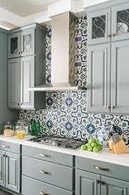 blue mediterranean mosaic tile kitchen backsplash