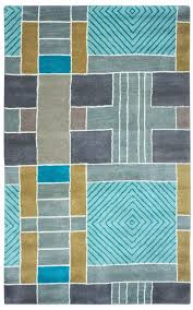 volare wool area rug 5 x 8 multi color grey gold blue teal off white color block