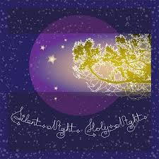 silent night holy night background. Handwritten Text Silent Night Holy And Branch On Blue Background Typographic Element With Snow In