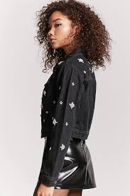 studded faux pearl denim jacket