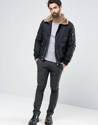 largest supplier schott air er jacket faux fur collar 9q k exclusive black men