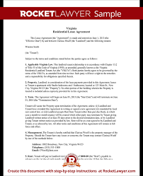 Free Sample Lease Agreement Delectable Virginia Lease Agreement Template Residential Lease Agreement
