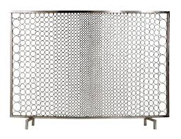 sabrina firescreen nickel contemporary midcentury modern transitional metal fireplace element by interlude