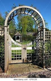 wooden garden arch gate stock photos images arches with plans wooden garden arch with seat