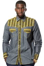 African Print Men S Shirt Designs Desta African Print Light Denim Jeans Men Shirt Blue