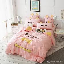 cute pig printed bedding sets comfortable fashion washable cotton pink bed sheet quilt cover pillow case cute pig bedding sets comfortable bed sheet