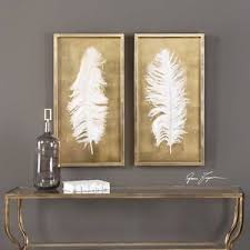 image is loading framed white feather set under glass gold leaf  on framed wall art decor with framed white feather set under glass gold leaf shadow box bird wall