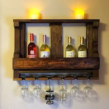 rustic reclaimed wood wine glass holder design with wine racks for bar