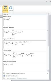 equation editor in word 2010