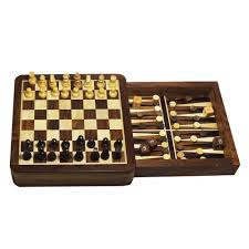 Wooden Board Game Sets Handmade Backgammon Chess Set Wooden Board Game with Storage 62
