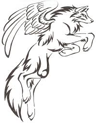 tribal wolf with wings drawing. Interesting Wings MysticalFantasy Leaping Tribal Wolf Drawing With Wings Tattoo With Pinterest