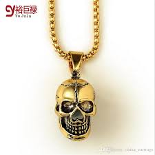 whole fashionable jewelry hip hop 18k vacuum plating bling bling jewelry gold skull pendant necklace whole jewelry silver pendant necklaces ruby