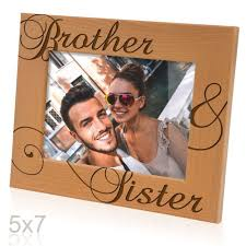 kate posh brother sister engraved natural wood picture frame siblings gifts