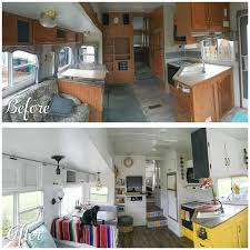 A Before And After Photo Of A Camper Renovation The Main Living Space ...